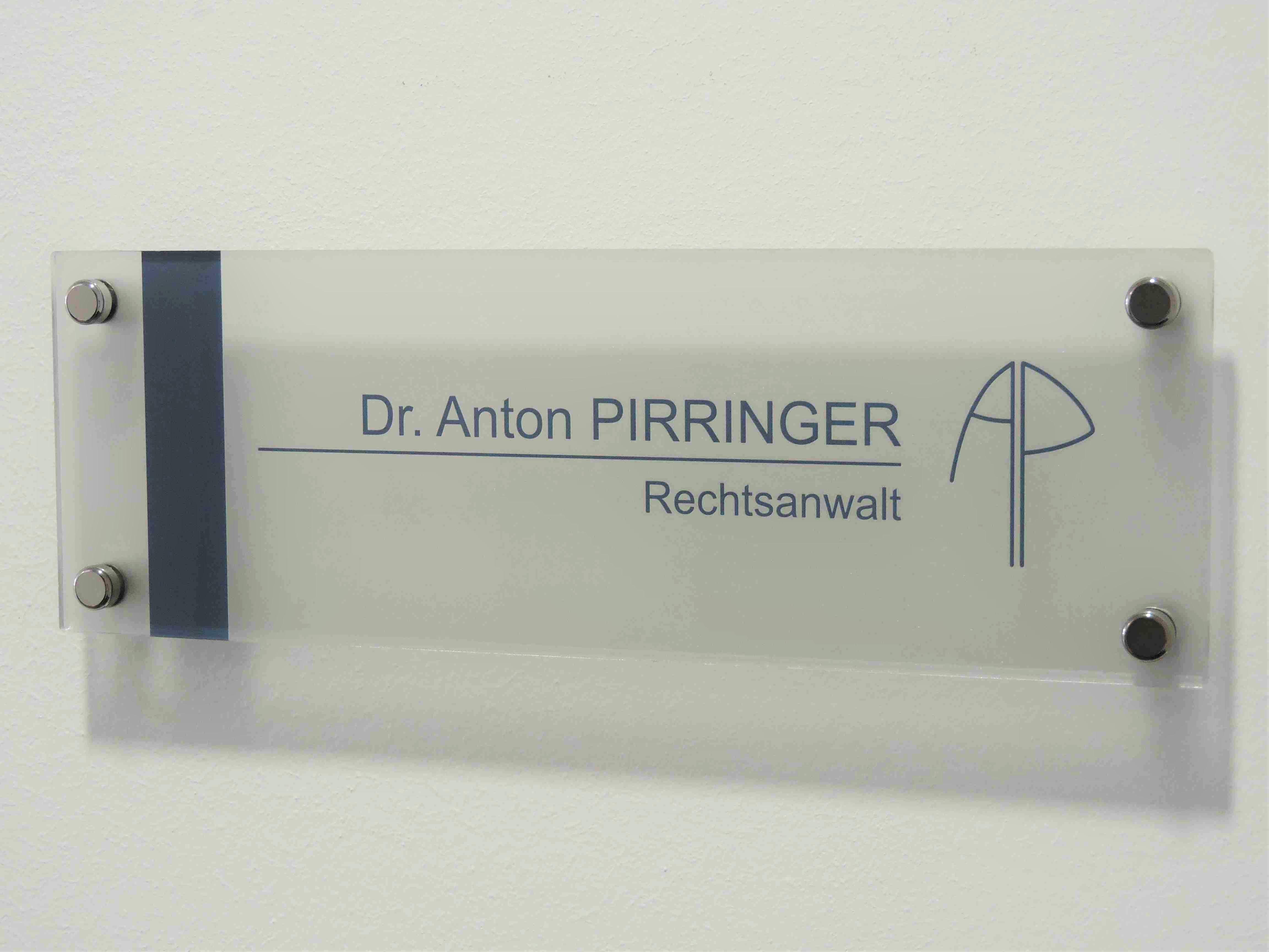 Türschild Anwalt Dr. Anton Pirringer 2460 Bruck an der Leitha 2413 Berg Rechtsanwalt