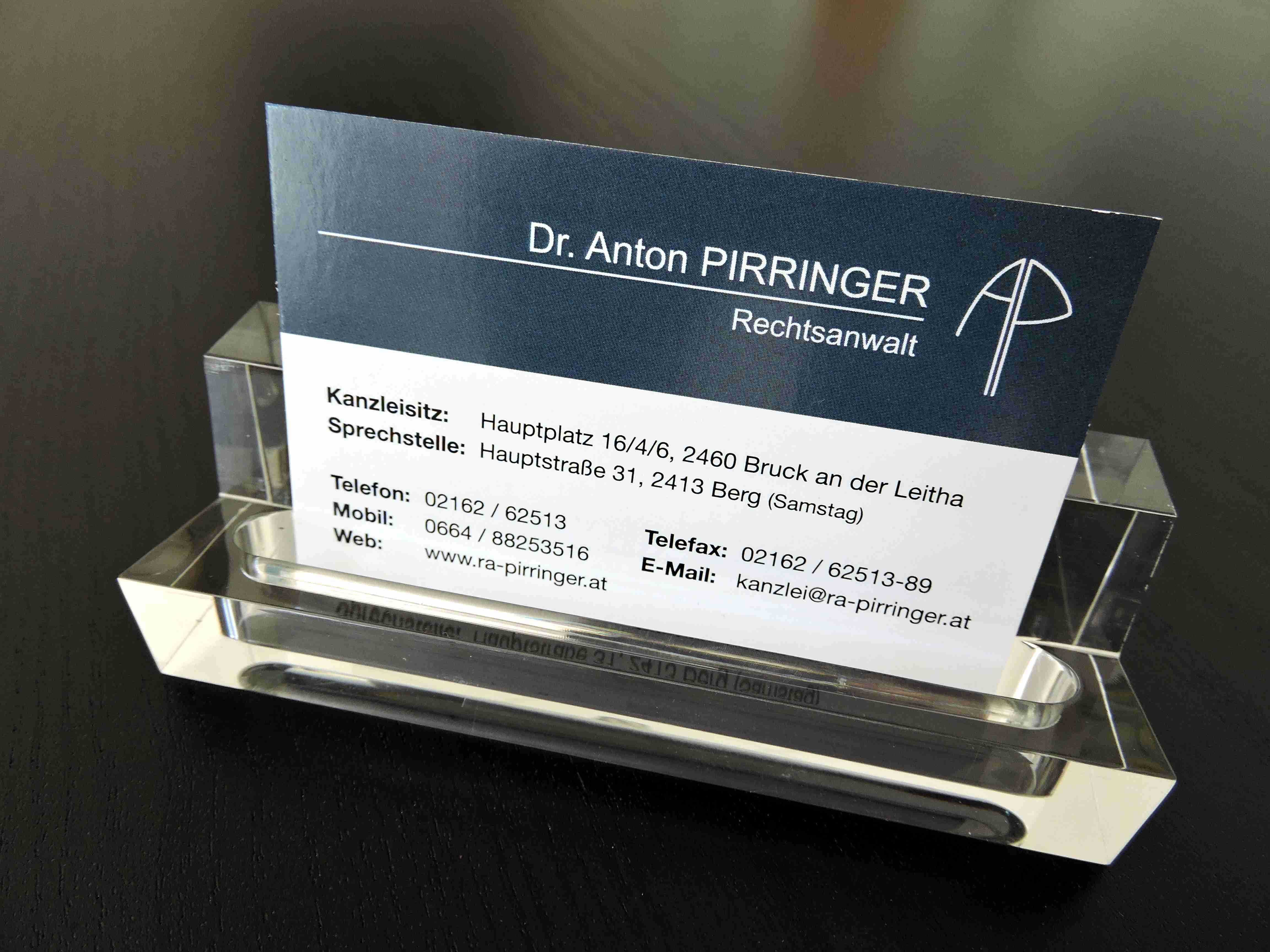 Visitenkarte Anwalt Dr. Anton Pirringer 2460 Bruck an der Leitha 2413 Berg Rechtsanwalt