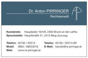 Visitenkarte2 Rechtsanwalt Dr. Anton Pirringer 2460 Bruck an der Leitha 2413 Berg