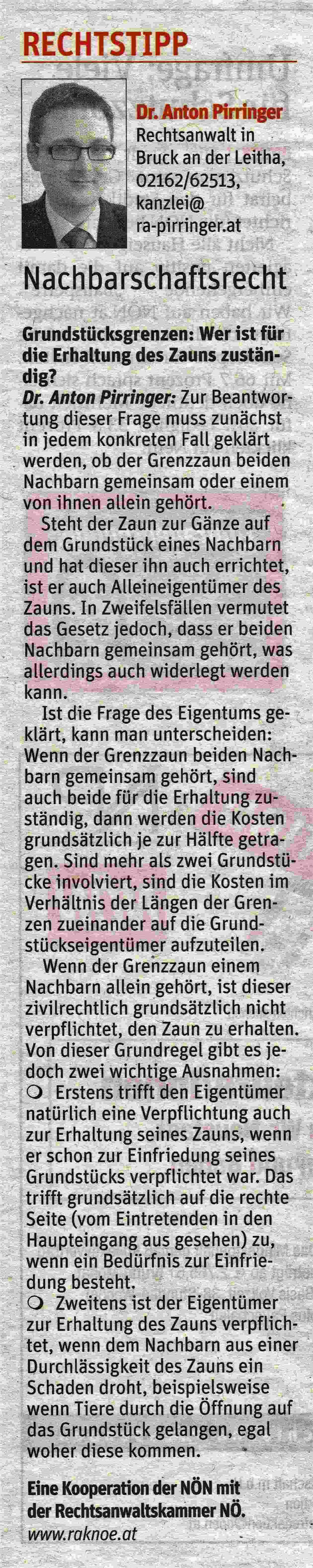 Kolumne Niederösterreichische Nachrichten Nr. 14 am 5.April 2017 Dr. Anton Pirringer
