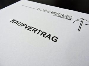 Kaufvertrag Rechtsanwaltskanzlei Anwalt Dr. Anton Pirringer Bruck an der Leitha 2460