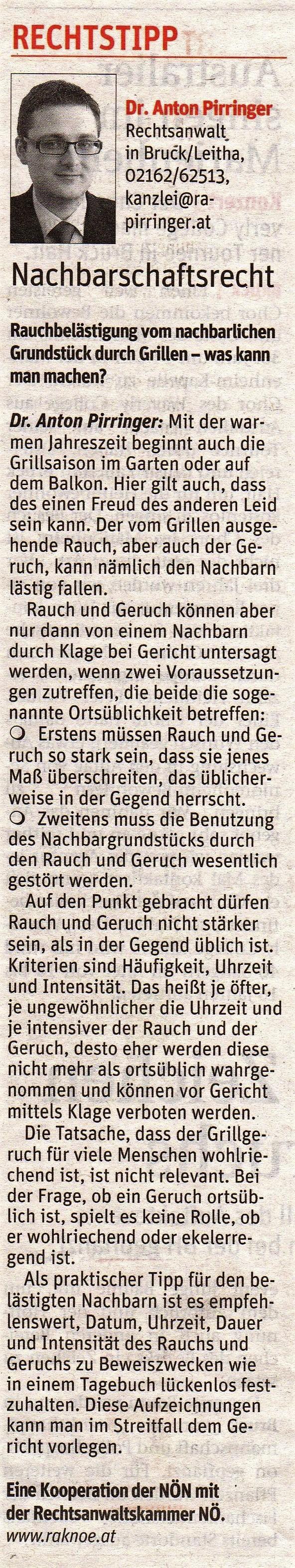 Kolumne Niederösterreichische Nachrichten Nr. 25 am 20.Juni 2018 Dr. Anton Pirringer