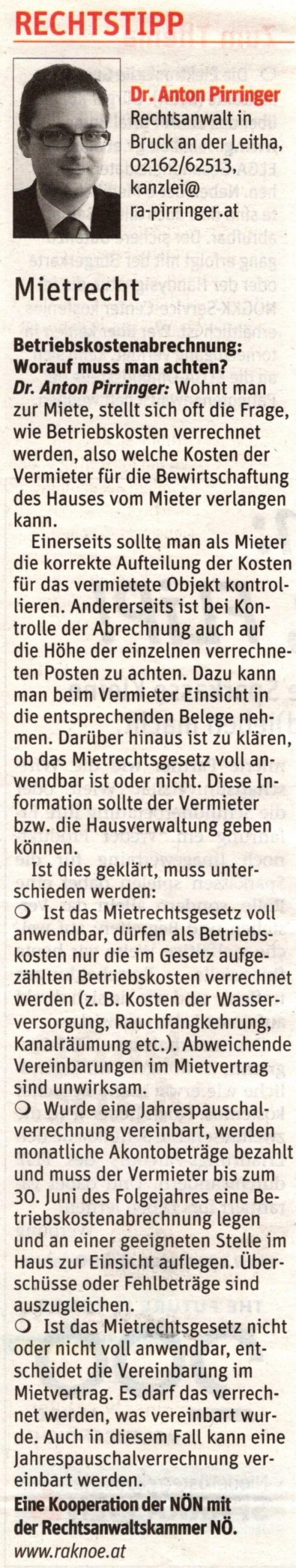 Kolumne Niederösterreichische Nachrichten Nr. 21 am 22.Mai 2019 Dr. Anton Pirringer